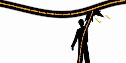 পাওয়ার লাইন; ভূমির সাথে সংযোগ ব্যতীত একটি হাত একটি লাইভ লাইনে অপর হাত শূণ্যে